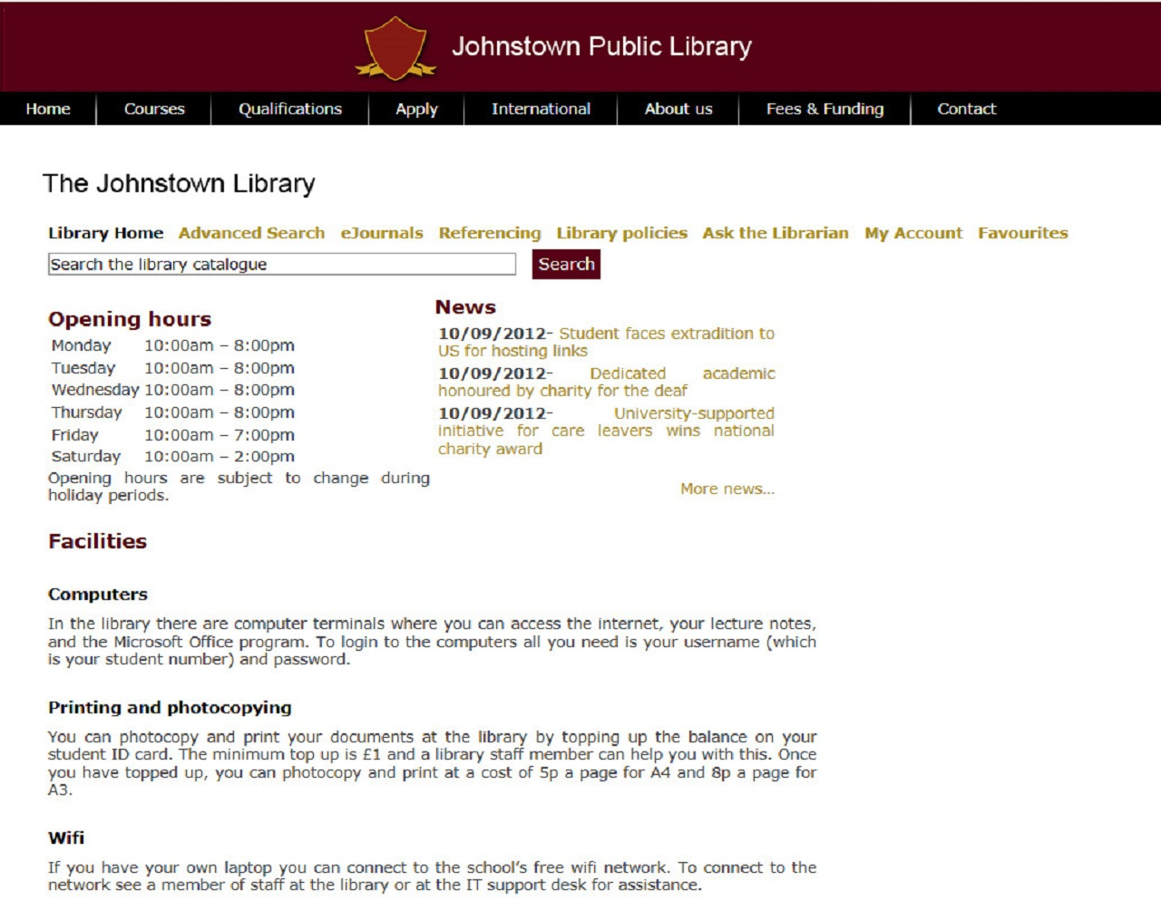 Johnstown Public Library OPAC